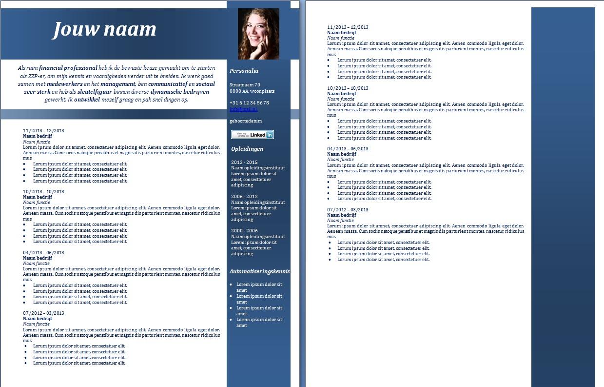 kies je layout cv opmaat cv voorbeeld 5 blauw